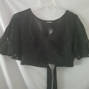 NWT Express Black Lace Crop Top
